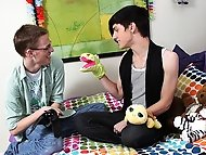 An emo boy and a geeky twink swap cocks in a horny butt fucking session