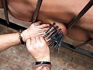Master Kane drains the balls of restrained slave boy...