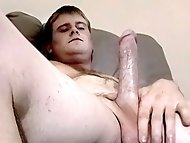 Sexy straight boy Keith lets another guy suck on his cock in this jerk off