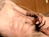 Straight and handsome Lex has a lot of piss and cum in...