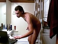 Tristan Hollister washes up in the shower, washing his...